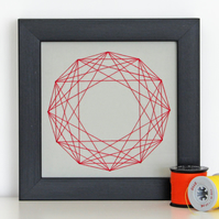 Geometric Thread Art - Mini Twelve Point Partial Rose