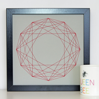 Geometric Thread Art - Twelve Point Partial Rose