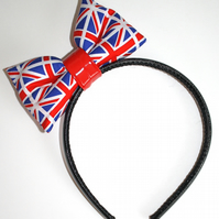 Mini Union Jack Print hair BOW