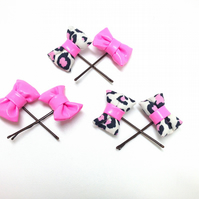 Set of Baby Pink and Cream Pink Leopard Mini Hair BOW!s