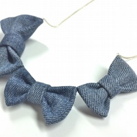 Thrice as Nice Denim BOW! Necklace