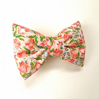 PEACHY FLORAL BOW! BARRETTE
