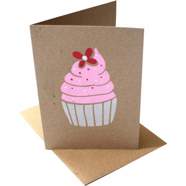 Strawberry frosted Cupcake card - handprinted