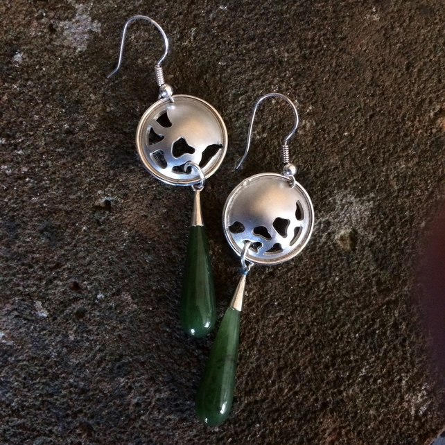 Long drop sterling silver earrings