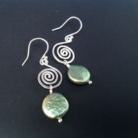 Silver and pearl large swirl earrings