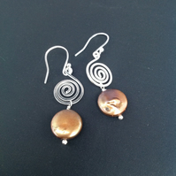 Large silver swirl earrings