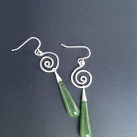 Sterling silver and Jade swirl earrings