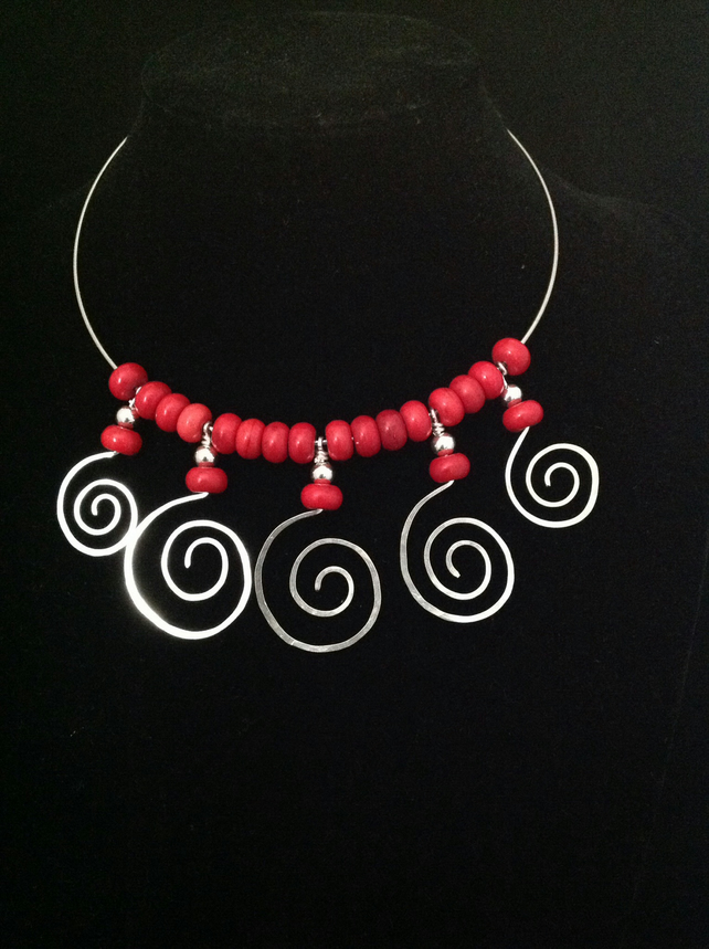 Silver and coral swirl collar