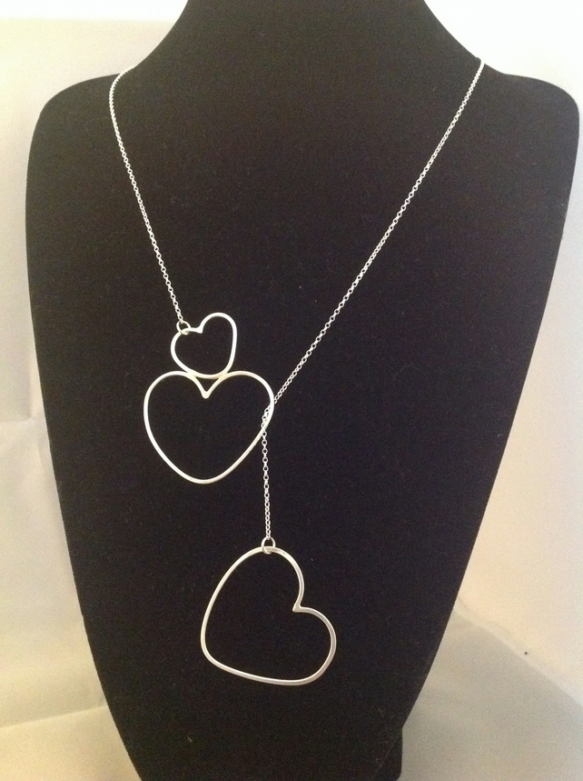 Double heart lariat necklace