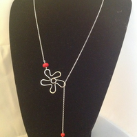 Red flower lariat necklace