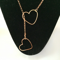 Copper hearts lariat