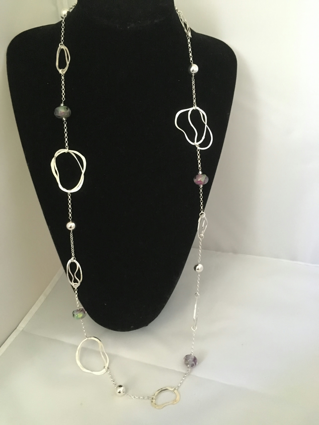 Contemporary long silver and glass necklace