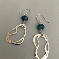 Blue and silver loop earrings