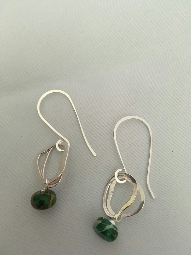 Green jade loop earrings