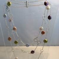 Three strand multicolour necklace