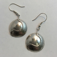 Large silver dome earrings