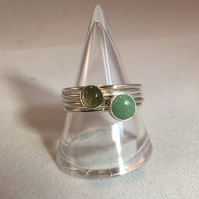 Green two stone stacking ring