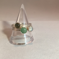 Three stone green stacking rings