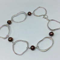 Brown pearl oval bracelet