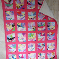 "Homemade scrappy pink baby, child quilt.  53"" x 44"""