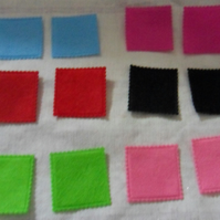 "12 Felt squares. Approx 1 quarter"" Great for embellishments"
