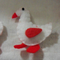 "Three felt geese embellishments. Approx 2 half"" x 2"""