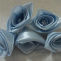 Homemade Blue ribbon rose embellishments. 5 in a pack.  Free postage