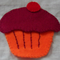 Homemade felt cupcake embellishment. Red icing, Orange cake. Free postage