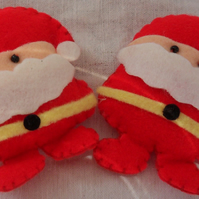 "Two felt Father Christmas embellishments. Approx 2"". Free postage"