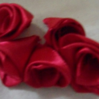 Homemade 5 red ribbon roses embellishment. Free postage.