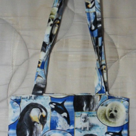 "Homemade tote bag. Orca,Seals and penguins design. 12 half"" x 13"""