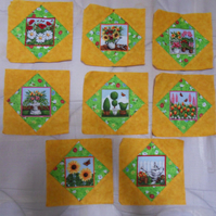 Homemade 8 yellow springtime quilt blocks. 6 half inch square. 100% cotton
