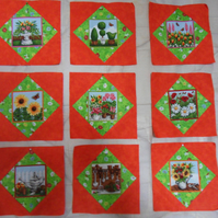 Homemade 9 orange springtime quilt blocks. 6 half inch square. 100% cotton