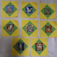 Homemade 8 yellow Owl quilt blocks. 6 half inch square. 100% cotton