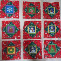 Homemade 9 Christmas quilt blocks. 6 half inch square. 100% cotton