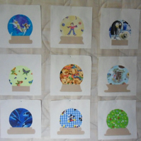 "Homemade 9 Applique Snowglobes quilt blocks. 11"" half inch square. 100% cotton"