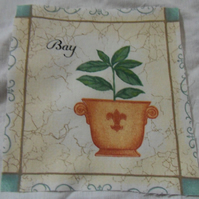 100% cotton fabric.  Bay leaves.  Sold separately, postage .62p for many