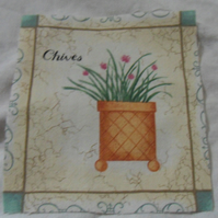 100% cotton fabric.  Chives.  Sold separately, postage .62p for many