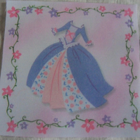 Polycotton squares. Blue dress.  Sold separately.  .62p postage on many (18)