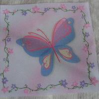 Polycotton squares. Butterfly.  Sold separately.  .62p postage on many (22)