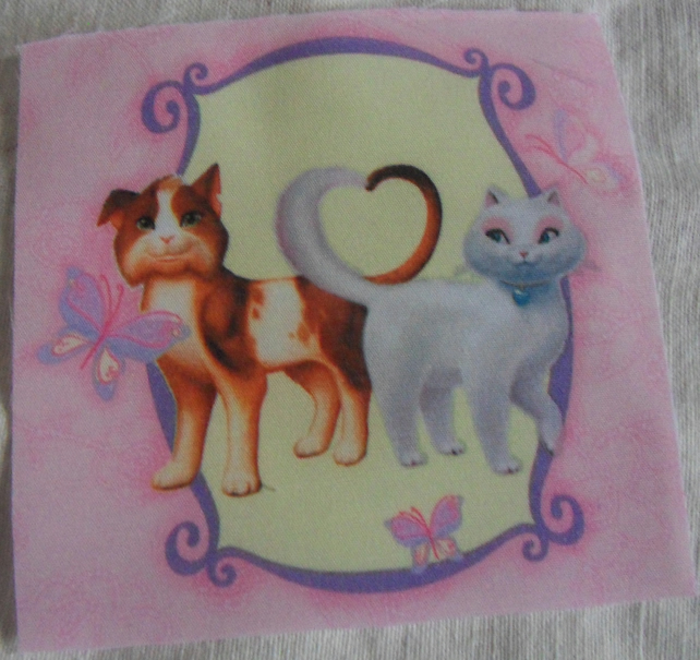 Polycotton squares. two cats.  Sold separately.  .62p postage on many (25)