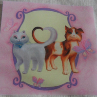 Polycotton squares. two cats.  Sold separately.  .62p postage on many (26)