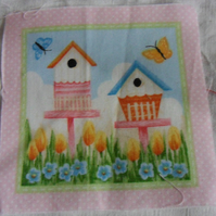 100% cotton fabric.  2 bird houses  Sold separately, postage .62p for many (30)