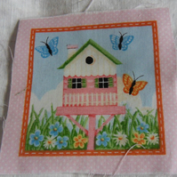 100% cotton fabric.  Bird house.  Sold separately, postage .62p for many (32)