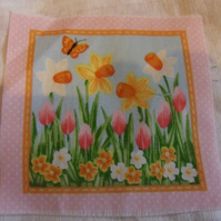 100% cotton fabric. Daffodils  Sold separately, postage .62p for many (33)