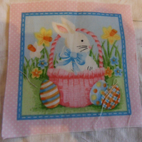 100% cotton fabric.  Bunny,basket  Sold separately, postage .62p for many (34)