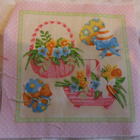 100% cotton fabric. baskets,eggs  Sold separately, postage .62p for many (36)