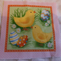 100% cotton fabric.  chiscks,eggs  Sold separately, postage .62p for many (37)