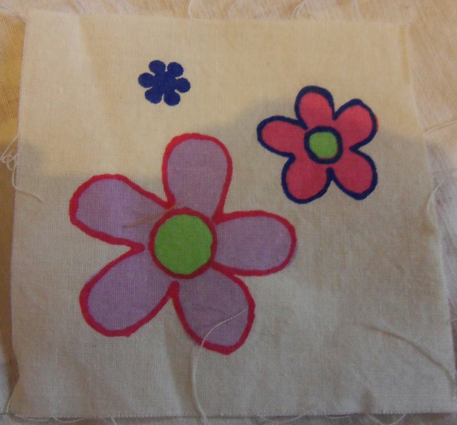 100% cotton fabric.  3 Flowers  Sold separately, postage .62p for many (40)