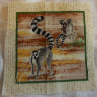 100% cotton fabric.  Lemurs  Sold separately, postage .62p for many (43)